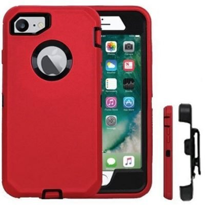Red Obumex Defender iPhone 7 Plus case Rugged Protection with Holster Belt Clip