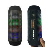 Black Q600 Pulse Portable Bluetooth Speaker with 360 LED Color Changing Lights for Smartphones, iPads, Laptops