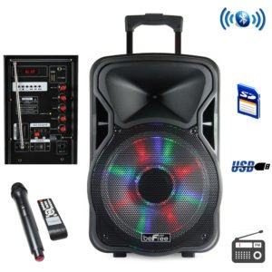 beFree 15 Inch Bluetooth Rechargeable Party Speaker with Illuminatiing Lights
