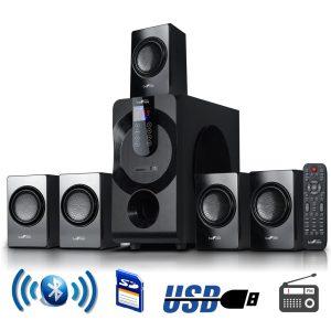 beFree 5.1 Channel Surround Sound Bluetooth Speaker System in Black