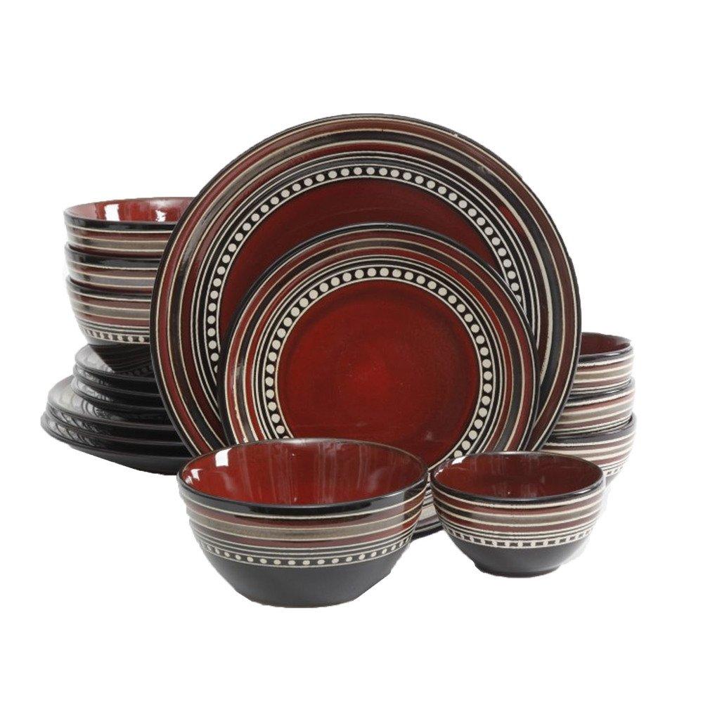 Red Dinnerware Set - 16 Piece Gibson Elite Cafe Versailles