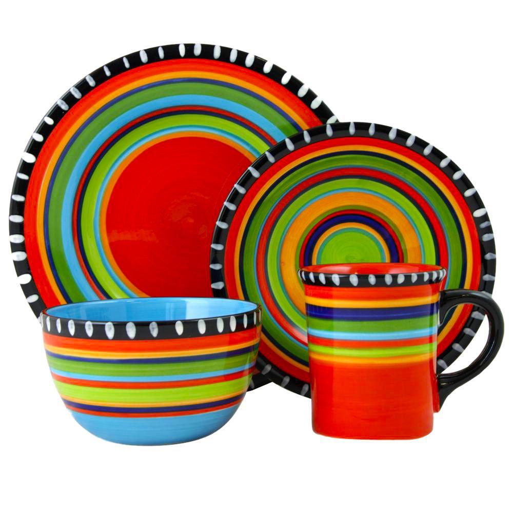 Gibson Elite Pueblo Springs 16 Piece Durastone Dinnerware Set