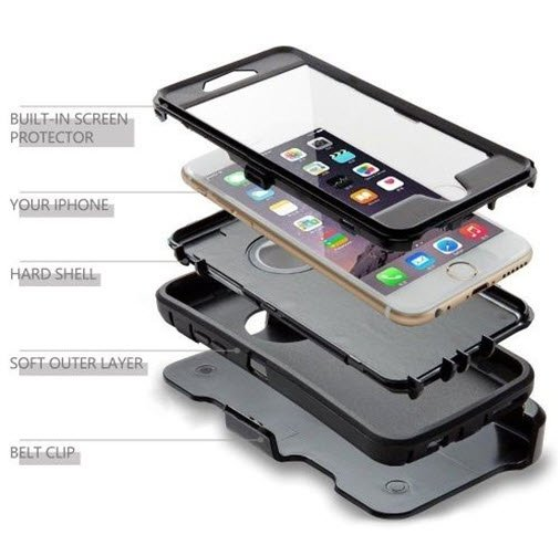 New iPhone 6S plus case - Otterbox Defender Rugged Protection Holster Belt Clip - Black
