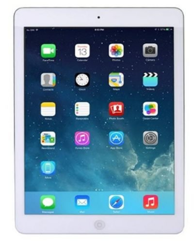 Apple iPad Air 32GB With WiFi Retina Display - Silver & White - image onipadair105-front1-400x502 on http://obumex.com